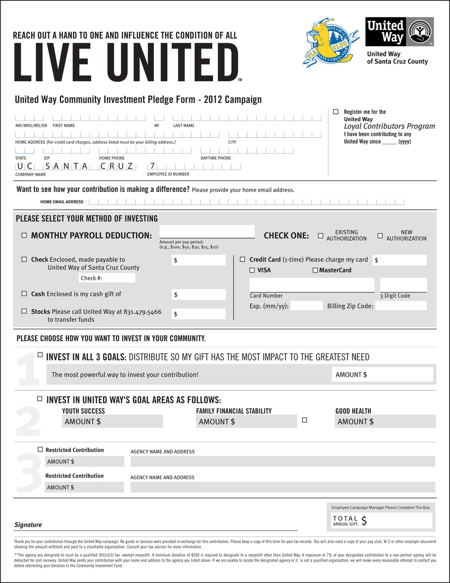 donation pledge form